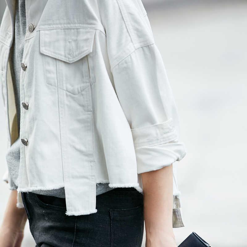 Amii Mulheres Casuais Jaqueta Minimalista 2019 Denim Único Breasted Turn-down Collar Feminino Curto Casacos