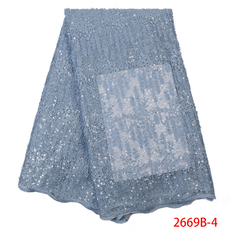 2019 High Quality African Lace Fabric Latest Organza Fabric Lace French Tulle Laces With Sequins For Wedding Dress KS2669B-4