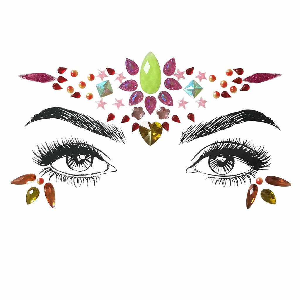 Visage gemmes adhésif paillettes bijou tatouage mariage Festival Rave fête corps maquillage visage rouge facile à utiliser #3