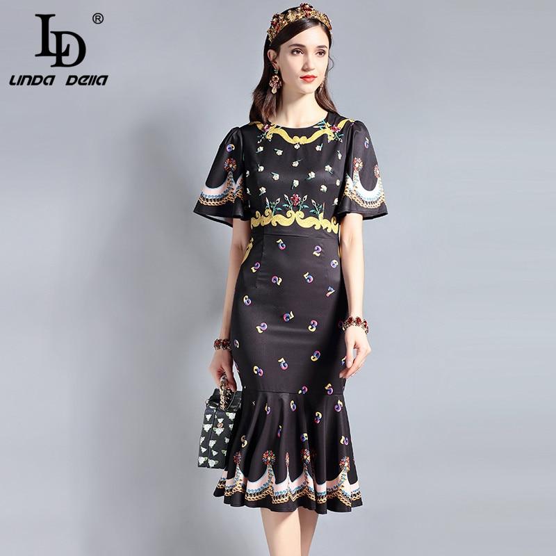 LD LINDA DELLA Runway Designer Summer Dress Womens Short sleeve Bodycon Vintage Floral Print Beading Sexy Mermaid Party Dress