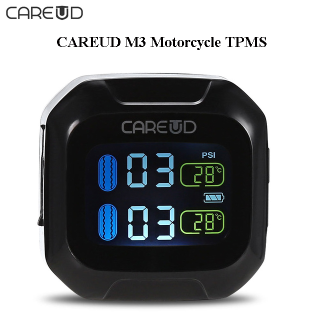 CAREUD M3 TPMSTire Pressure Monitoring System WI Real-time Motorcycle With LCD Display Pressure Temperature Abnormal Alarming