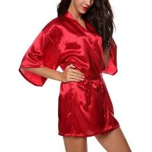 2016 women's clothing fashion silk cardigan with sleeve Half Sleeve Solid Casual Nightgowns Sexy Sleepshirts