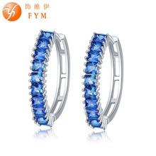FYM Brand Luxury 7 Colors Inlay 10 Green Square cut AAA Cubic Zircon Earrings Round Sliver Plated Hoop Earrings Female Jewelry fym brand 7 colors sliver plated big pink crystals zircon earrings micro paved white cz hoop earrings luxury jewelry women