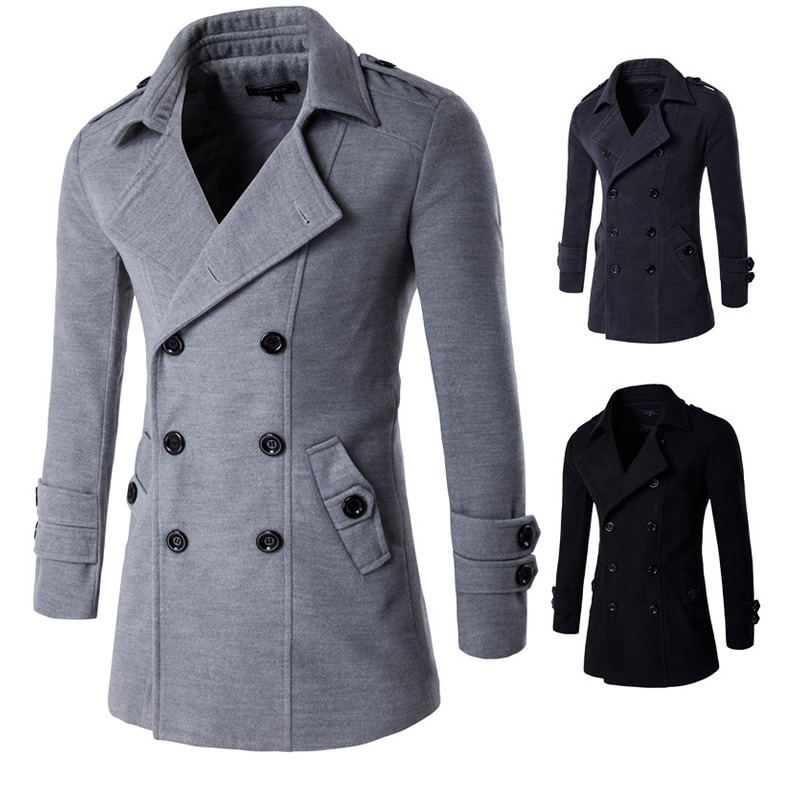 7848803f87b Men s trench coats England man s double-breasted long pea coat trench slim  fit classic trenchcoat Slim manteau homme