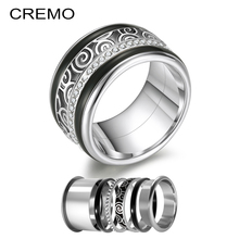 Cremo Spinner Rings Women Black Enamel Filled Ring Interchangeable Stainless Steel Original Luxury Fashion Wedding Band