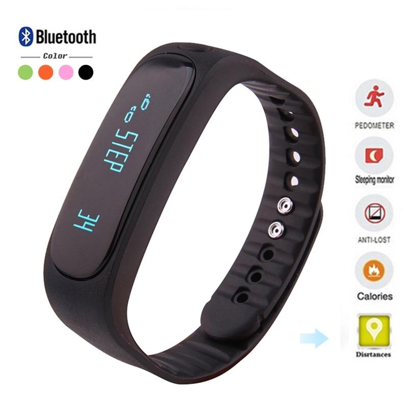 imágenes para E02 Pulsera Inteligente Bluetooth Pulsera Smartband Llamada Mensaje Recordar Perdido Anti Banda Para Android IOS Móviles