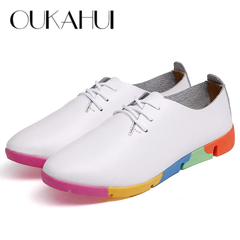 Autumn spring new lace-up leather women flat white shoes pointed toe plus size soft bottom leisure flat colorful shoes woman(China)