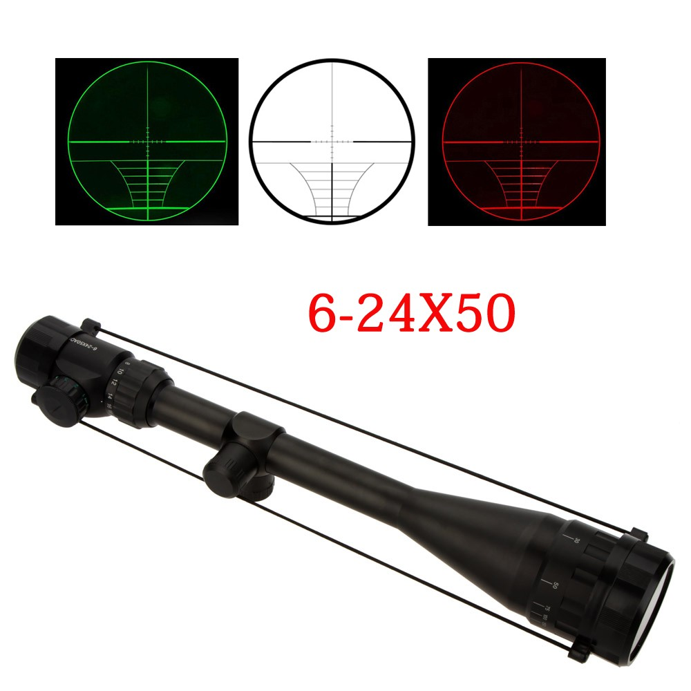 6-24X50 Adjustable Hunting Green Red Dot Illuminated Tactical Riflescope Reticle Optical Sight Scope for Shotgun Riflescopes hot sale 2 5 10x40 riflescope illuminated tactical riflescope with red laser scope hunting scope