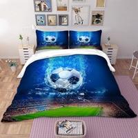 High quality World Football Bedding Sets 3pcs 3D Blue Polyester Fiber Duvet Cover Pillowcases EU\/CN\/US Sport Style Home Textile