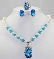 Preço de atacado 16new ^^^^ pérola/pedra azul/pedra opala colar + azul zircão pingente brinco anel