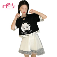 Japanese Soft Sister BF Style Summer Cartoon Naughty Two Piece Suit Black Short Sleeve Print Tops