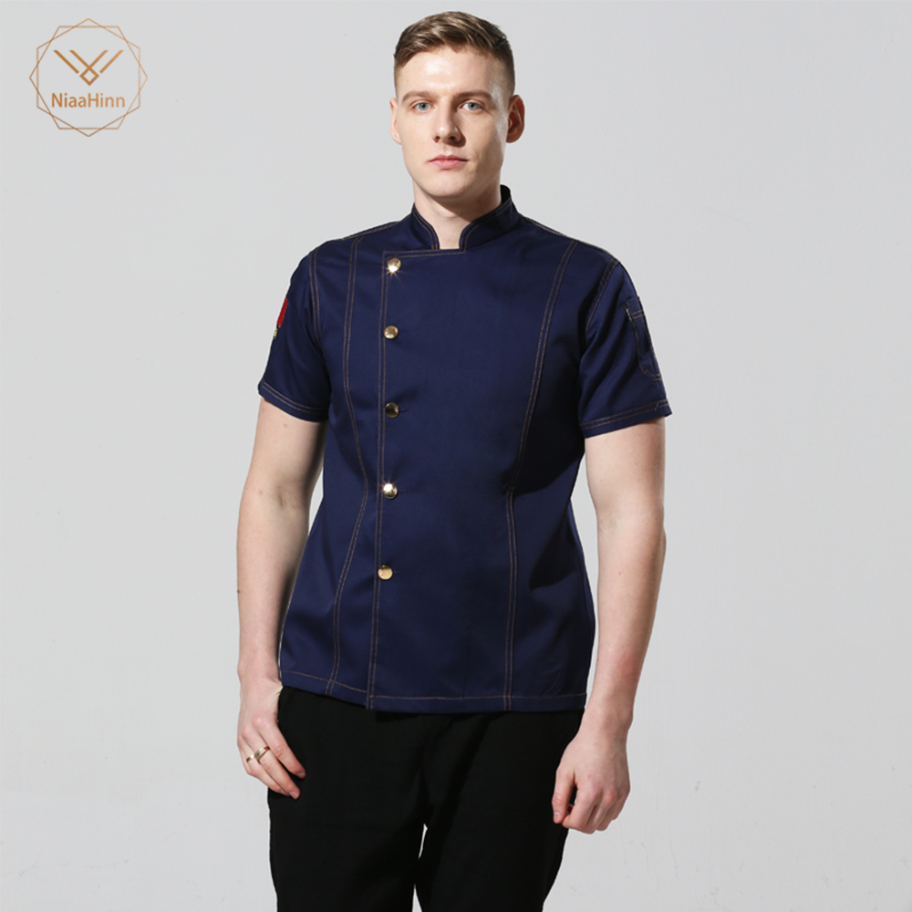 New Unisex Cook Clothes Men Single Breasted High Quality Kitchen Cook Uniform Short-sleeved Restaurant Bakery Waiter Tops Shirt