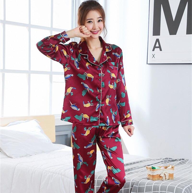 Women Clothes 2019 Spring Pajamas Adult Silk Print Sweet Women Sleepwear Set Girl Nightgown Long Pant Cute Silk Pajamas Sets silk
