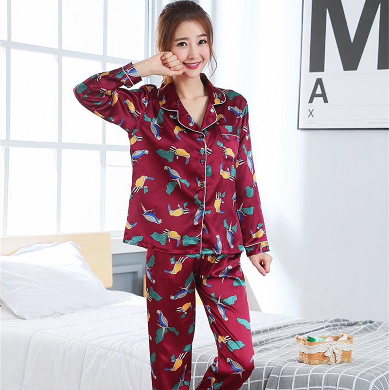 Women Clothes 2019 Spring   Pajamas   Adult Silk Print Sweet Women Sleepwear   Set   Girl Nightgown Long Pant Cute Silk   Pajamas     Sets