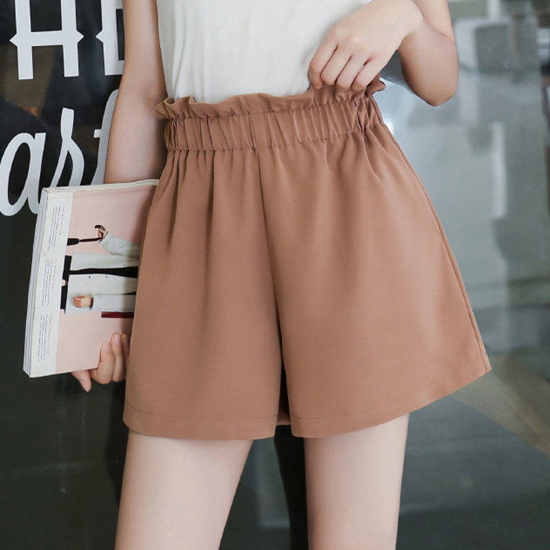 Khaki Black   Shorts   2019 Summer Hot   Shorts   High Waist Wide Leg Bottoms Korean Fashion Streetwear Solid Color PP149