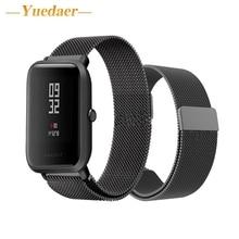 Yuedaer Tira de metal para Xiaomi Huami Bip POUCO RITMO Lite Tiras para Huami Amazfit Juventude juventude Relógio Inteligente Relógio de Pulso Inoxidável pulseira
