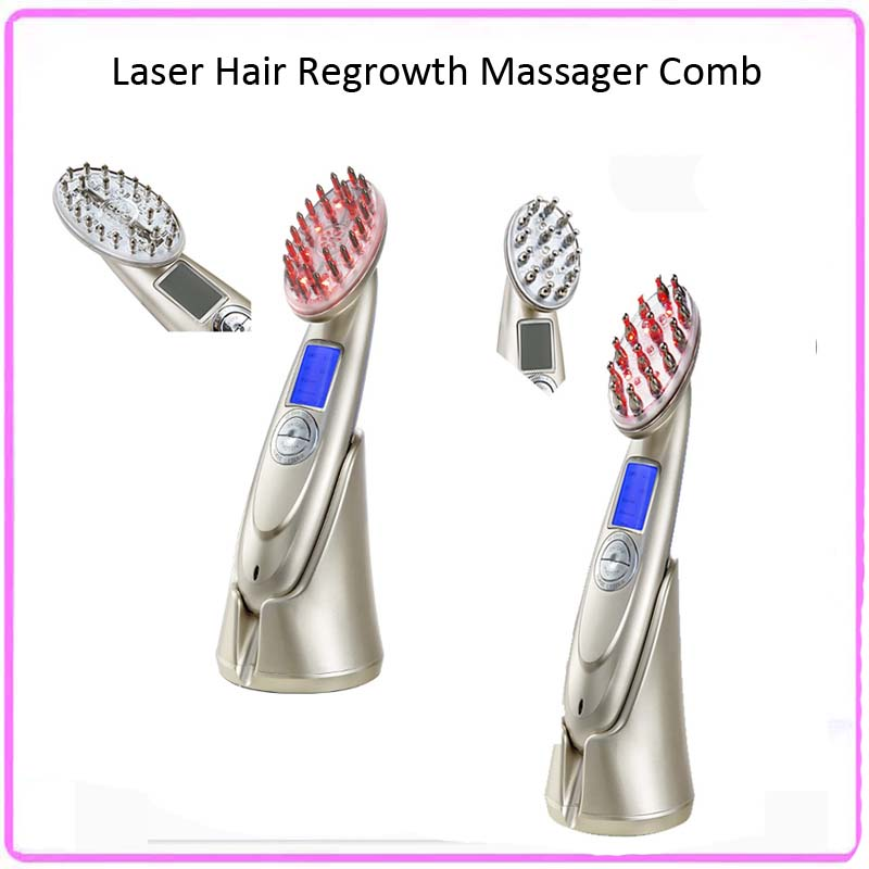 Rechargeable Home Beauty Hair Salon Electric Hair Scalp Follicle Stimulator Laser Photon EMS Hair Growth Massager Comb portable home use rf ems microcurrent vibrating scalp massager electric infrared laser comb hair growth with lcd display