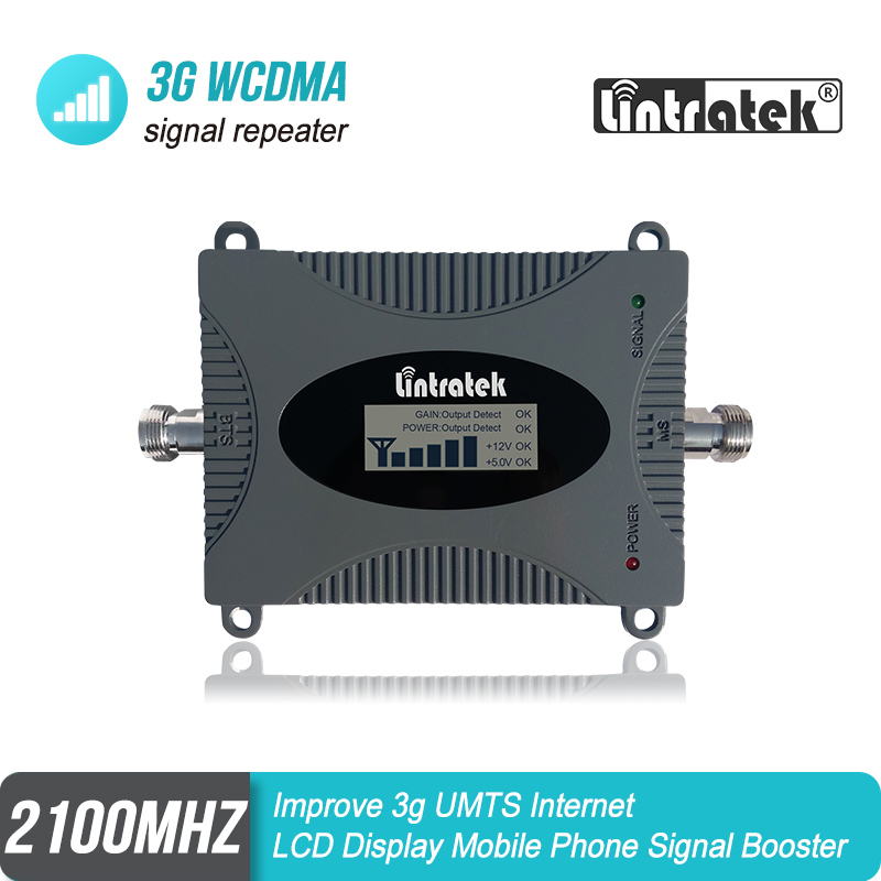 Lintratek 3G WCDMA UMTS 2100mhz Cellular Signal Repeater 65dB Gain Band 1 Booster Improve 3G Internet