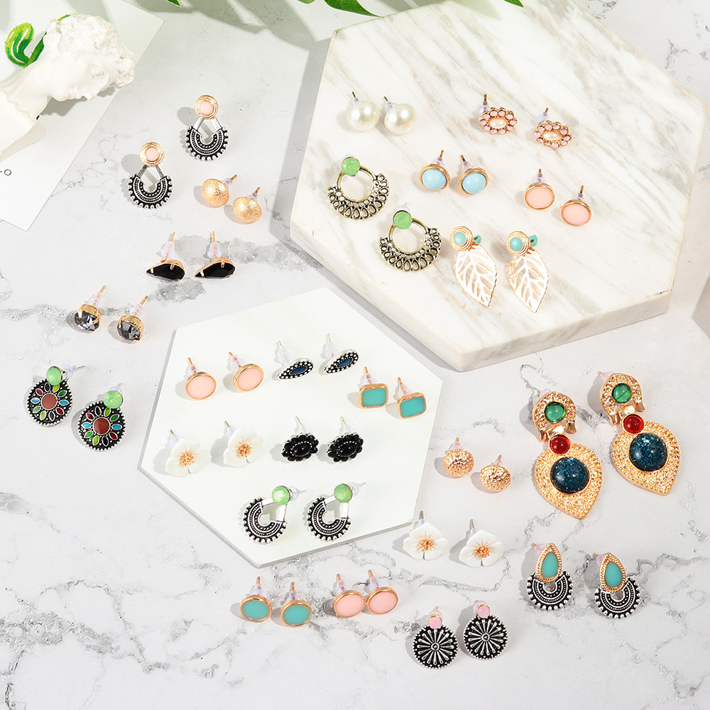 6 Pairs /set Boho Vintage Leaf Flower Stud Earring Set for Women Multicolor Retro Drop-Shaped Earring Personality Party Jewelry