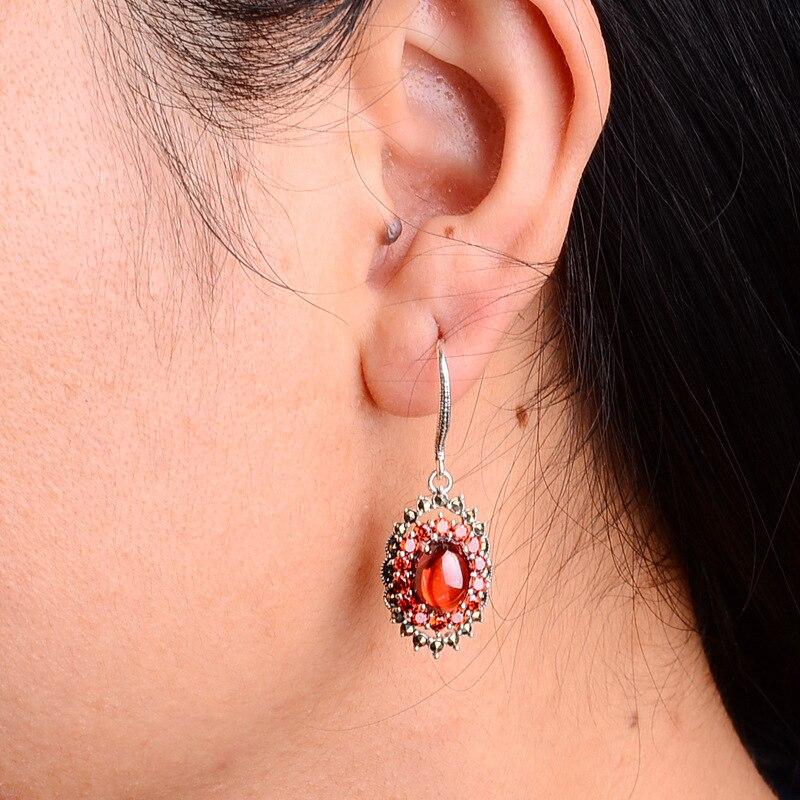 S925 pur argent boucles d'oreilles tempérament des femmes avec zircon rouge ovale national vent tremella bijoux cadeaux - 3