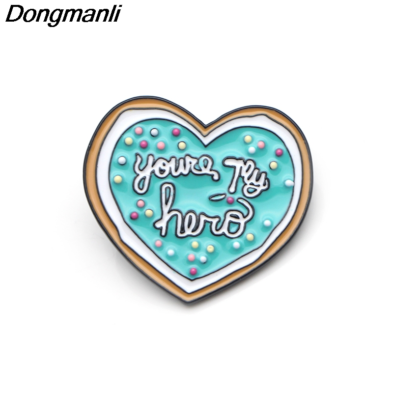 P3636 Dongmanli You 39 re My Hero Cookie Metal Enamel Pins and Brooches for Women Jewelry Lapel Pin Badge Kids Gifts in Brooches from Jewelry amp Accessories