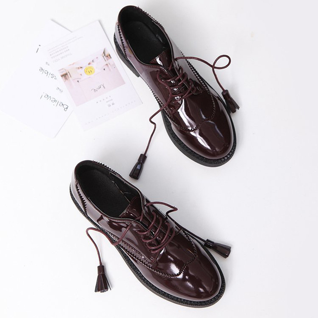 95d5902dbbe women flats brogue shoes 2018 new flat shoes tassel loafers women slip on  wine red black streetwear female British oxford shoes