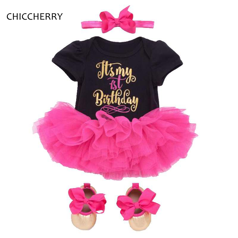 Its My 1st Birthday Baby Girl Clothes Sets Lace Romper Dress Headband Crib Shoes 3PCS Toddler Birthday Outfits Infant Clothing