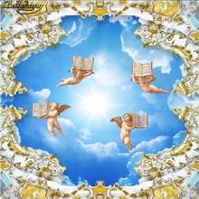 Papel de pared beibehang 3d, papel tapiz de techo europeo de Ángel para paredes, Bar KTV 3 d, restaurante, Mural Vintage, adhesivo para papeles
