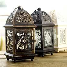 European Wall Light Candle Stand Square Metal Wedding Candlestick Hanging Home Decorative