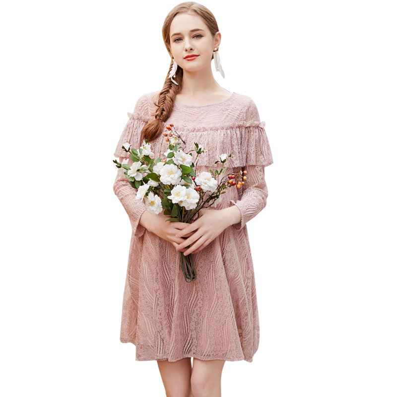 Europe New 2018 Spring Pregnant Women Fashion O Neck Long Sleeve Ruffles Sexy Lace Dress Maternity Casual Loose Clothes Hot Sale stylish sweetheart neck 3 4 sleeve layered women s lace dress