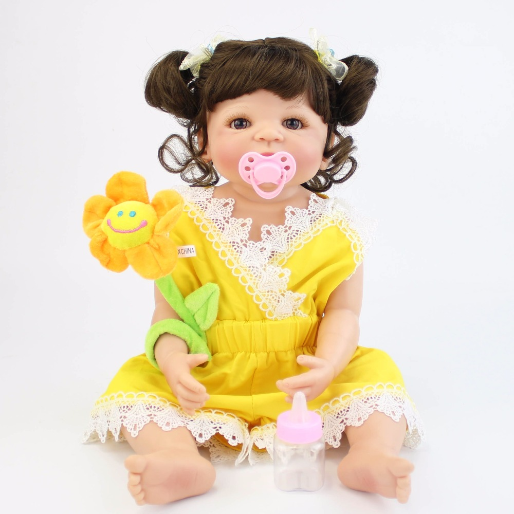 57cm Full Body Silicone Vinyl Reborn Girl Alive Baby Doll Toys Newborn Princess Toddler Babies Doll Bonecas Birthday Gift Child new doll reborn doll with pink clothes soft cloth body silicone toddler reborn babies girl dolls toys birthday gift bonecas