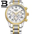 Top Schweiz Marke Männer Business Uhren Mechanische Echtem Lederband armbanduhr Selbst wind Römischen Uhr Multi-funktionale