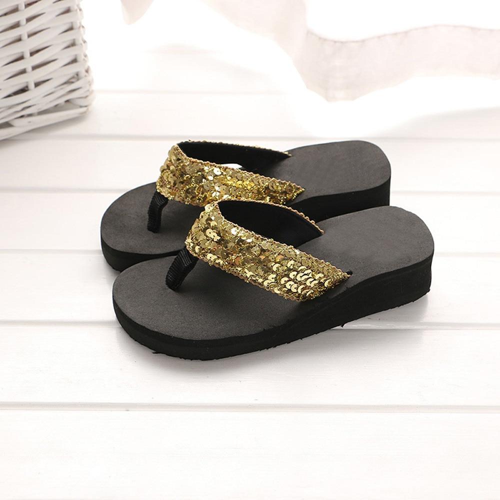 Summer Women Flip Flops Casual Sequins Anti-Slip slippers Beach Flip Flat Sandals Beach Open Toe Shoes For Ladies Shoes #L5