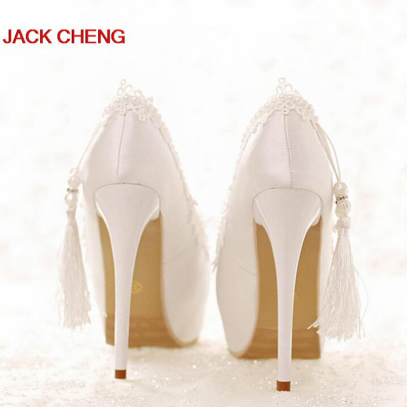Spring and Summer White Lace Formal Shoes Bridal Dress Shoes Sweetness High Heels Weddin ...