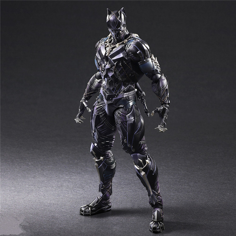 KUMALAZY Play Arts Kai PA TChalla Black Panther Super Hero Iron Man PA 27cm PVC Action Figure Doll Toys Kids Gift Brinquedos