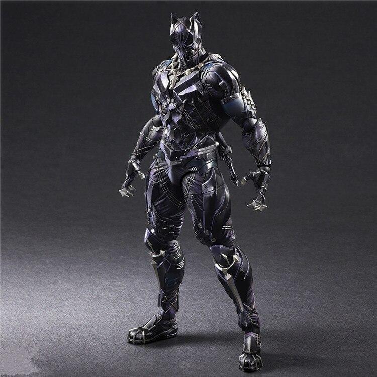 KUMALAZY Play Arts Kai PA TChalla Black Panther Super Hero Iron Man PA 27cm PVC Action Figure Doll Toys Kids Gift Brinquedos