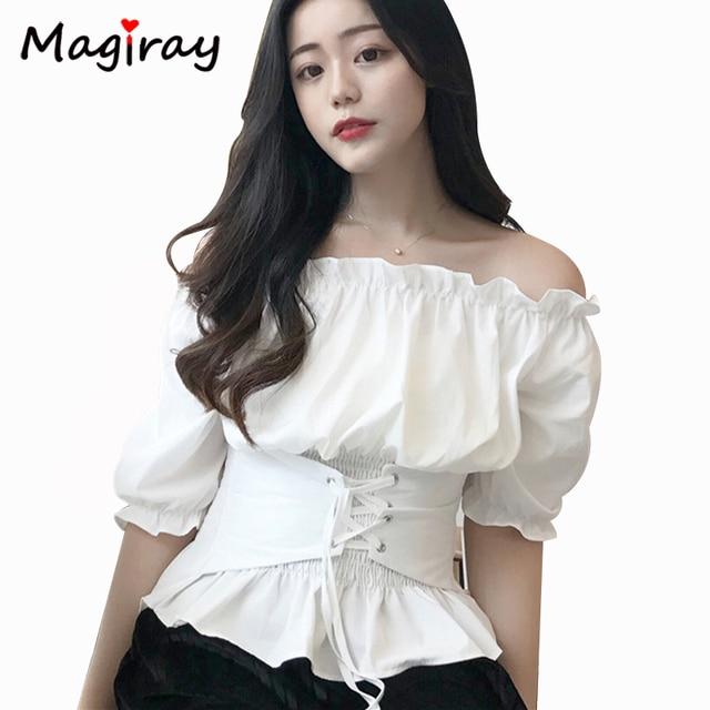 a80f3b0940990 Magiray Harajuku Frill Pleated Strapless Blouse Women 2019 Summer Sexy Off  Shoulder Top Peplum Belt Elegant Shirt Feminina C313