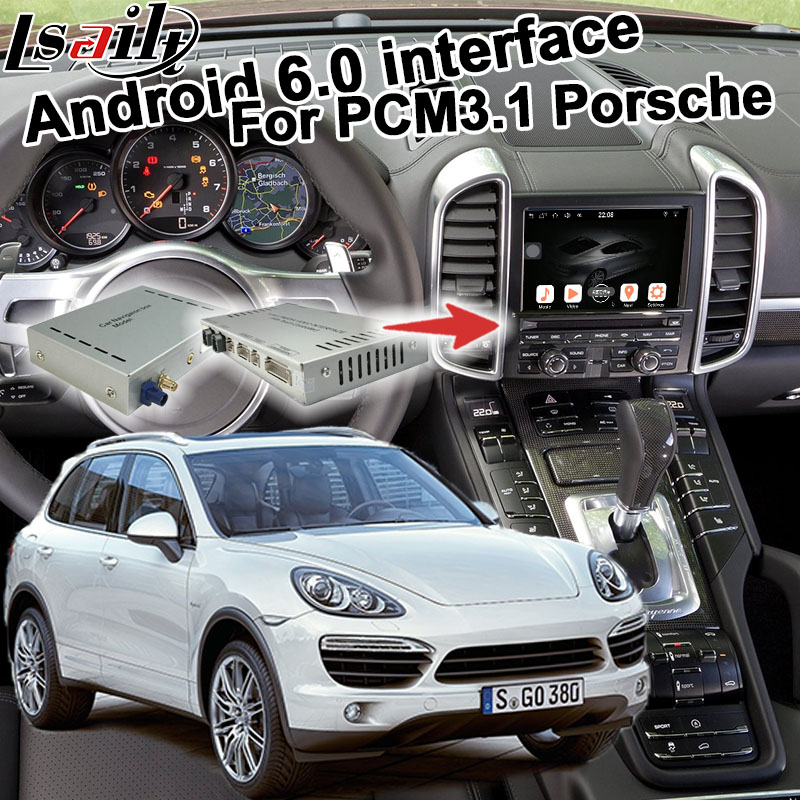 Android 6.0 GPS box navigation pour Porsche Cayenne PCM 3.1 en option Carplay google jouer youtube waze google carte vidéo interface