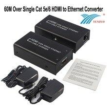 HDMI Extender 60 M Sobre Único Cabo UTP 1080 P 3D Cat5e6 Repetidor HDMI ao Conversor Ethernet w/RJ45 adaptador para HDTV, STUB, DVD