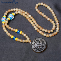 Wholesale Natural Antelope Horn Necklace 108 Buddha Beads Tiger Pendant Fish Pendant Necklace Tibetan Style Necklace Jewelry