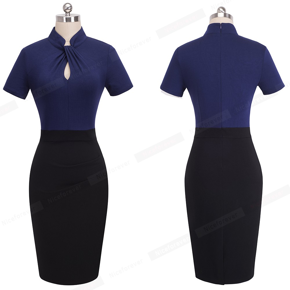 Nice-forever Vintage Contrast Color Patchwork Wear to Work Knot vestidos Bodycon Office Business Sheath Women Dress B430 23