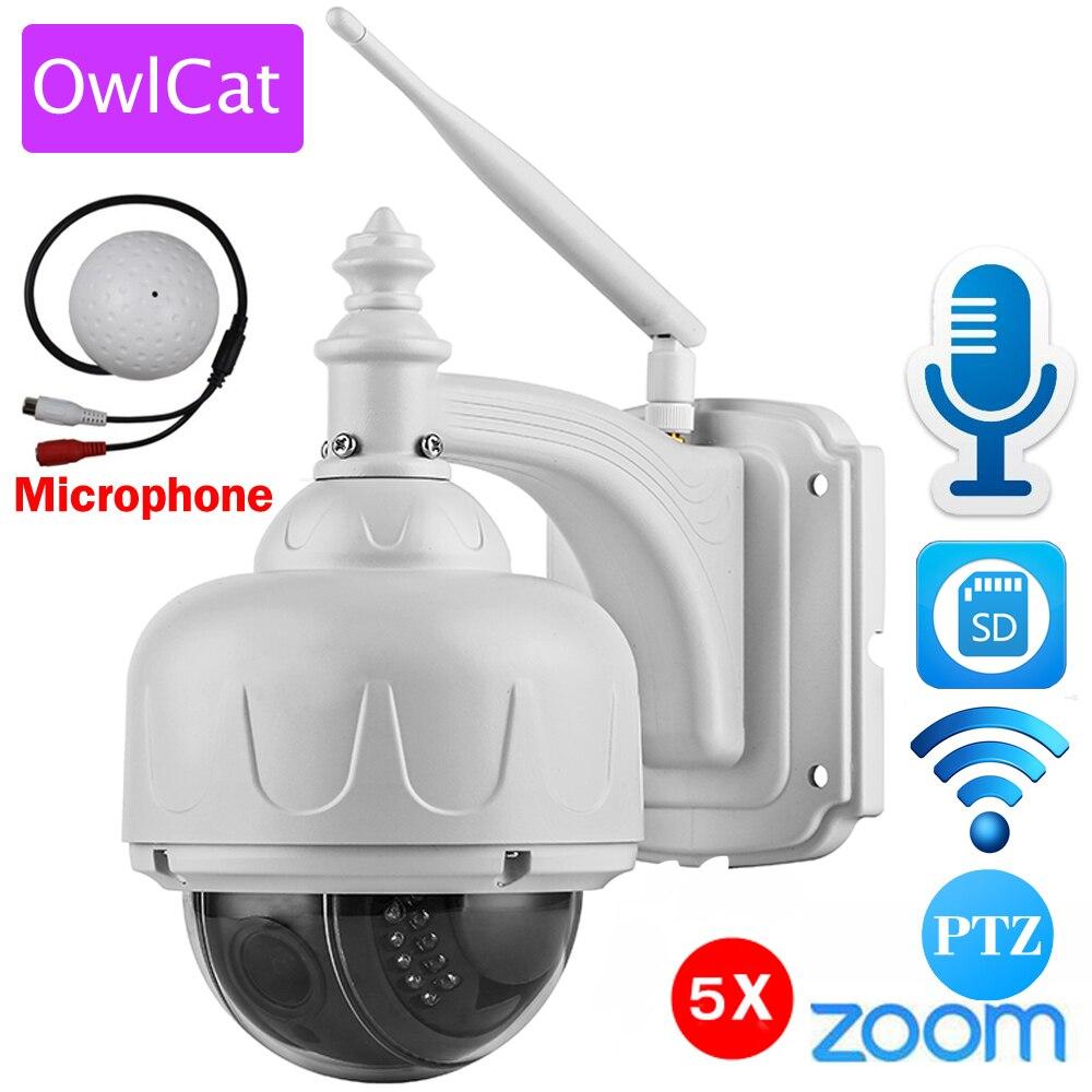 OwlCat Беспроводной IP Камера купольная PTZ открытый с внешнего микрофона Аудио Wifi камеры безопасности HD 1080 P 960 P 5X зум слот для карты SD