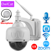 OwlCat Wireless IP Camera Dome PTZ Outdoor with External Microphone Audio Wifi Security Cam HD 1080p 960p 5X Zoom SD Card Slot