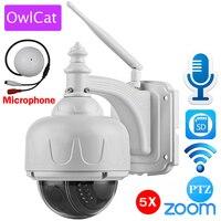 Owlcatワイヤレスipカメラドームptz屋外で外部マイクオーディオwifiセキュリティカムhd 1080 p 960 p 5xズームsdカードスロッ