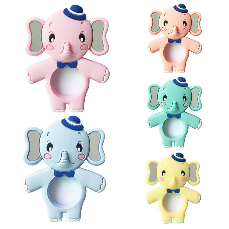 New Children Elephant Silicone Teether Soft Baby Chew Toy Baby Teether Food Grade Silicone Teething Beads Newborn Chew Toy