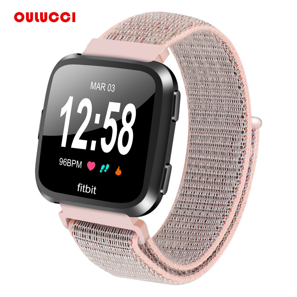 For Fitbit Versa Band, Nylon Sport Loop with Hook and Loop Adjustable Fastener Wrist Strap for Fitbit Versa Smart Fitness Watch