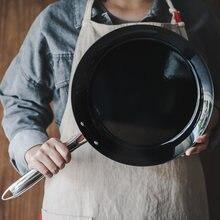 Poêle à frire en émail noir de type européen sans revêtement, casserole à fond plat pour la maison, four électromagnétique à gaz, sauteuse générale