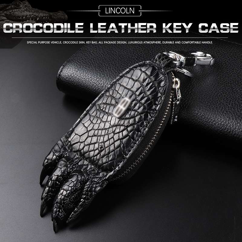 Dedicated to 2018 Lincoln mkz key bag mkc/mkx logo key cover car leather bag crocodile leather leather key cover key cover