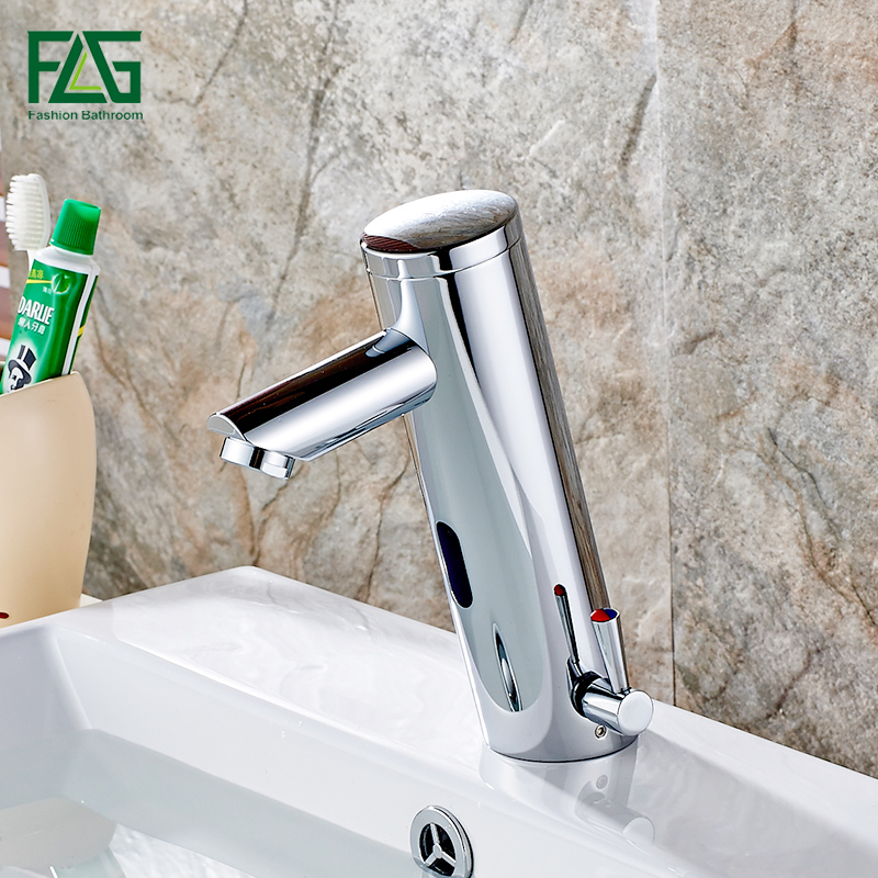 FLG Automatic Sensor Faucet Battery Bathroom Basin Toilet Infrared Cold And Hot Mixer Tap Deck Mounted Sink Water