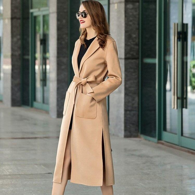 Long Noir 2018 D'hiver rouge bourgogne Laine Automne Manteau Survêtement Tranchée Femmes Tissu Cachemire Gamme De camel Corps Veste Double S Haut W1pTS7w
